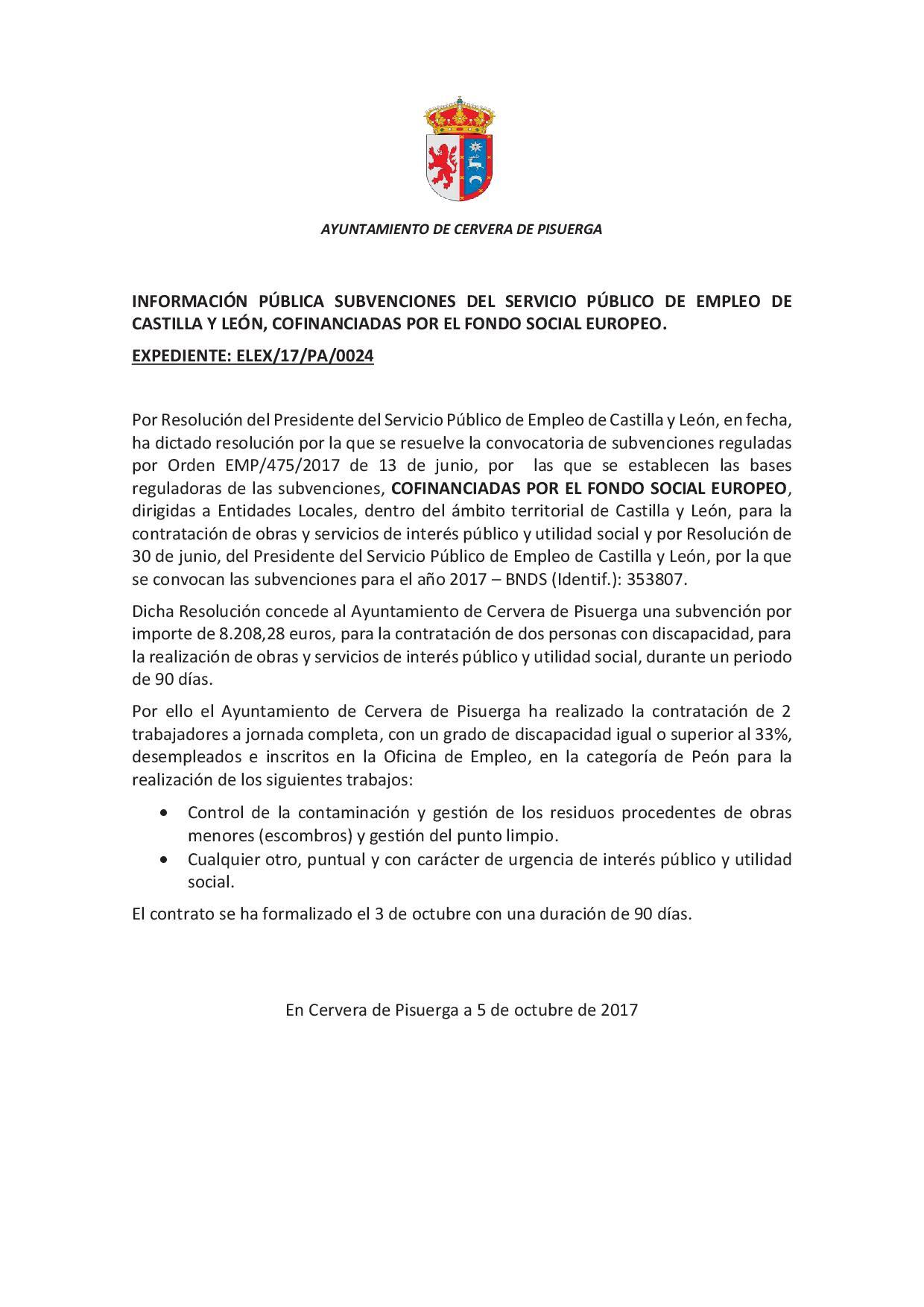 Información pública Subvención del Servicio Público de Empleo confinanciada por el Fondo Social Europeo