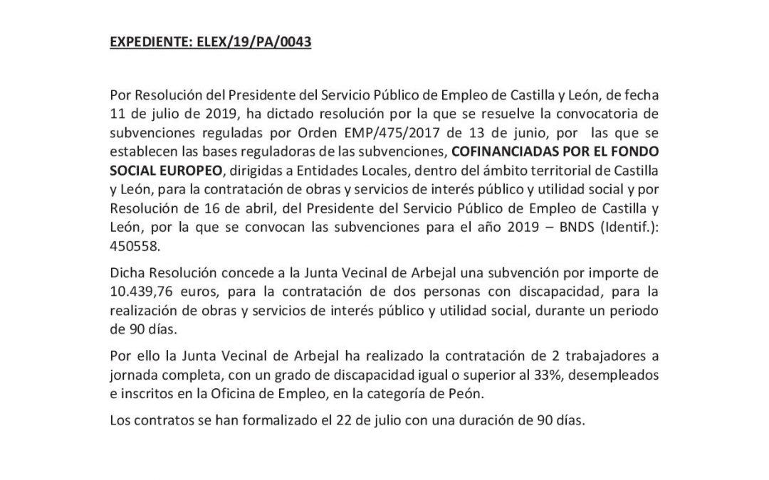 Anuncio contratación 2 desempleados por la Junta Vecinal de Arbejal cofinanciado por el Fondo Social Europeo